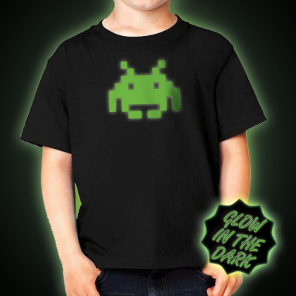 Glow in the dark Children's Space Invader T-Shirt